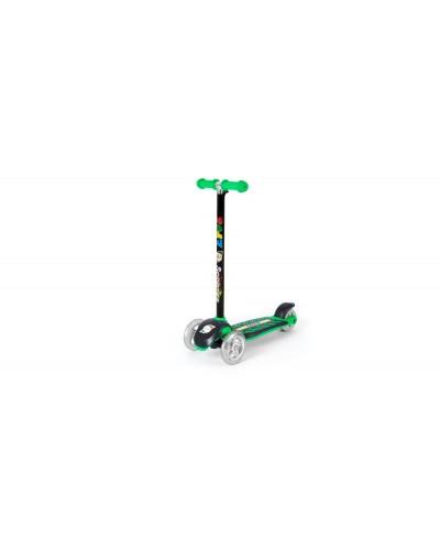 Самокат Зеленый (сияющие колеса, рулевая колонка большая) 555х290х755 мм
