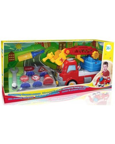 Конструктор Пожарная машина с дорожными знаками 3+