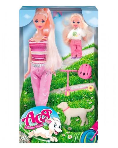 Набор с куклой Асей  'Семейная прогулка'; 28 см; блондинка; и маленькой куклой 11 см; вариант 2
