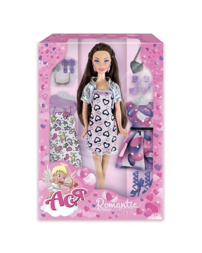 Набор с куклой Асей 'Романтический стиль'; 28 см; брюнетка; вариант 2