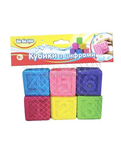 Пищалки для ванной Кубики с цифрами 6 шт. 9М+