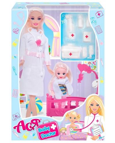 Набор с куклой Асей  'Детский доктор'; 28 см; блондинка; и маленькой куклой 11 см