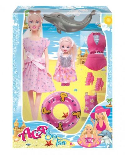 Набор с куклой Асей  'Морское приключение'; 28 см; блондинка; и маленькой куклой 11 см