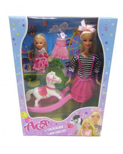 Набор с куклой Асей  'Прогулка верхом'; 28 см; блондинка; и маленькой куклой 11 см