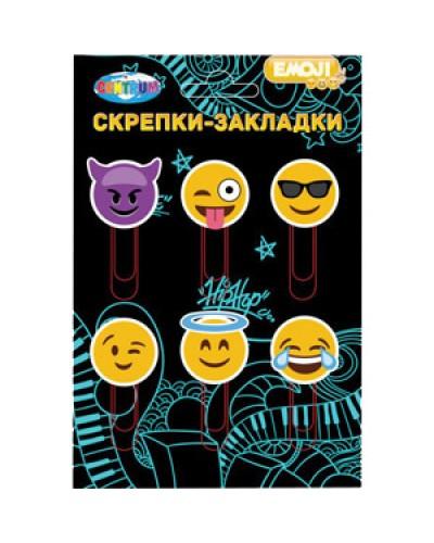 """Скріпки-закладки Сentrum """"Emojidex"""" круглі 6шт. 50мм в бліст. 87157"""