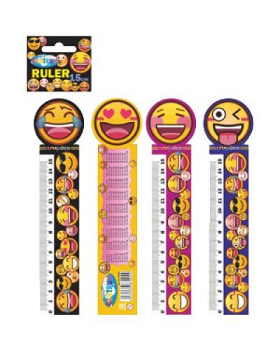 """Лінійка-закладка Centrum """"Emojidex"""" 3D 15х4см для книг, пластик., асорті 87004"""