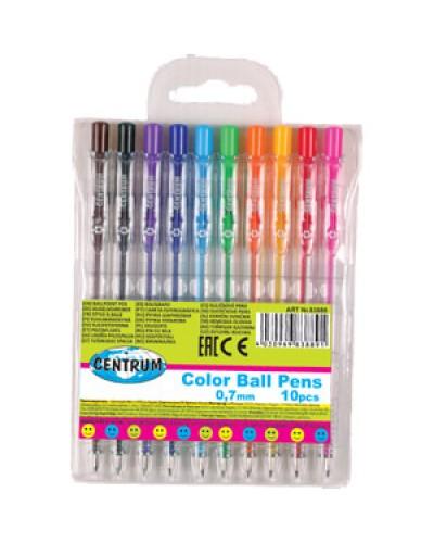 """Набір кульк.авт. ручок Centrum """"Color Ball Pens"""" (10шт.) 0,7мм в блист. 83889"""