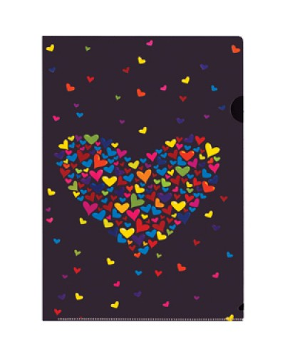 "Папка куточок пласт. А4 Centrum ""Hearts"" 0,18мм  L-тип асорті 84555"