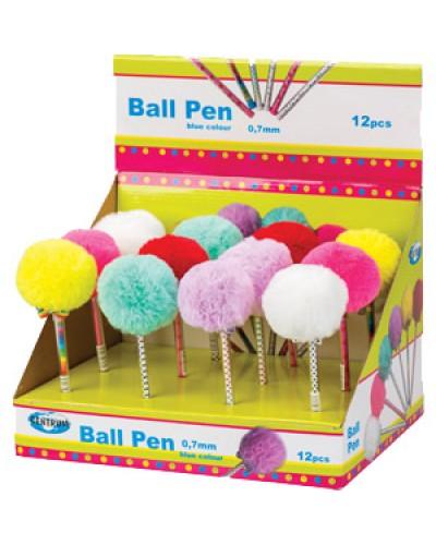 Ручка кульк. Centrum POMPON син. 0,7мм 86923 в диспл.