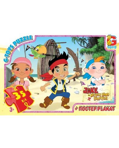"""Пазли ТМ """"G-Toys"""" із серії """"Джейк та пірати нетландії"""", 35 ел."""