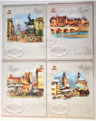 Зошит, 48 аркушів, лінія, офсет, Мандарин (Vintage design(15-125))