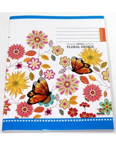 Зошит, 96 аркушів, лінія, офсет, Мандарин (Floral design(15-151))