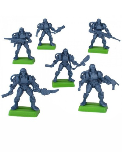 "Набор бронепехота ""Спец кибер-пехота"" без кор. (6 воинов./ цвет синий метал), Fantasy"