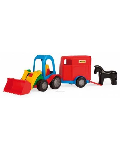 Игрушечная машинка трактор-багги с ковшом и прицепом
