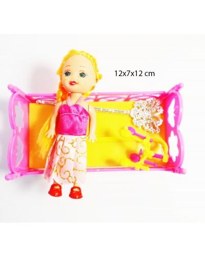 Кукла маленькая 338D с кроваткой, в пак. 12*7*12см