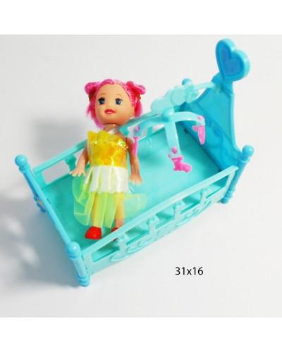 Кукла маленькая JX900-31 с кроваткой, в пак.31*16cм