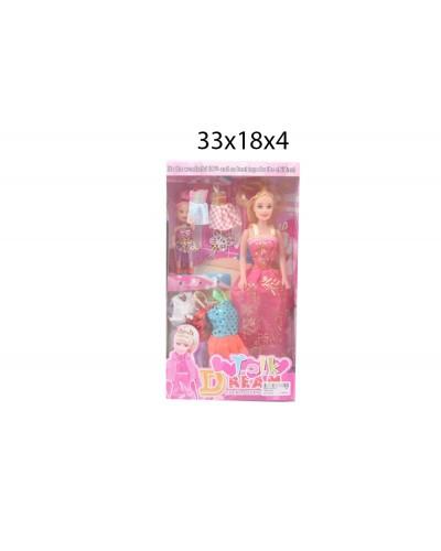 """Кукла типа """"Барби"""" 1889-02B с мал.куколкой, одеждой, аксесс, в кор.33*18*4см"""