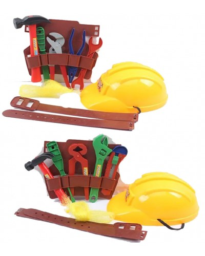 Набор инструментов 1502/1504 2вида, каска, молоток, пояс и др.,в сетке 22*16*9см