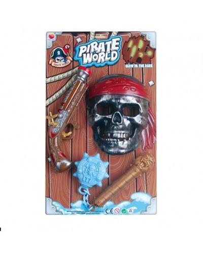Пиратский набор B6668-3 мушкет, маска, свет, звук, на планшетке 47*28*5,5см