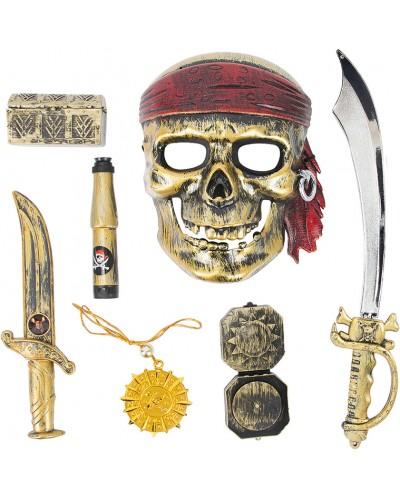 Пиратский набор ZP3554 сабля, маска, флаг, сундук, компас, в пакете 46см