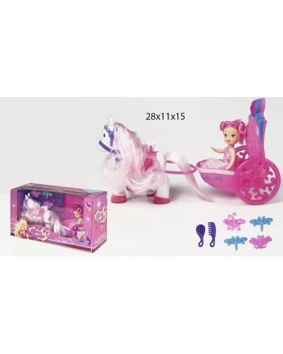 Карета 8619 с лошадкой, куколкой, расческой, зеркальцем, в кор. 28*11*15см