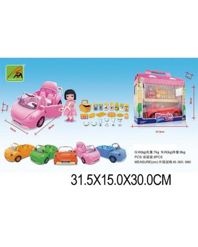 Машина с куклой 2014-2 (1368700) 6 видов, с аксесс,в кор. 32*15*30см
