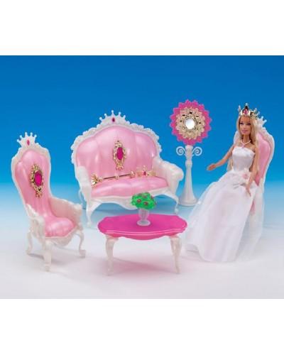 """Мебель """"Gloria"""" 1204 для гостинной, журн.столик, диван, 2 кресла, аксес., в кор.32*21*9.5см"""