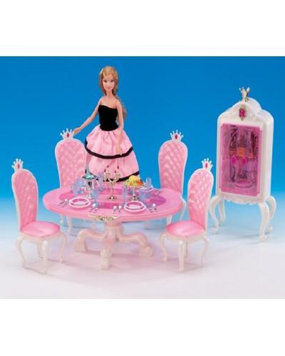 """Мебель """"Gloria"""" 1212 для столовой,стол,4 стула,буфет,свечи,посуда,еда,в кор.30*19.5*7.5см"""