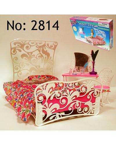 """Мебель """"Gloria"""" 2814 для спальни,кровать,туал.столик,стул,в кор. 34*20*6см"""