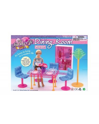 """Мебель """"Gloria"""" 2912  для гостинной,стол,4 стула,сервант,посуда,торшер в кор,28*20*7,5 см"""