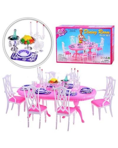 """Мебель """"Gloria"""" 9712 для гостинной, стол, 6 стульев, посуда, свечи, в кор. 44*23*9см"""