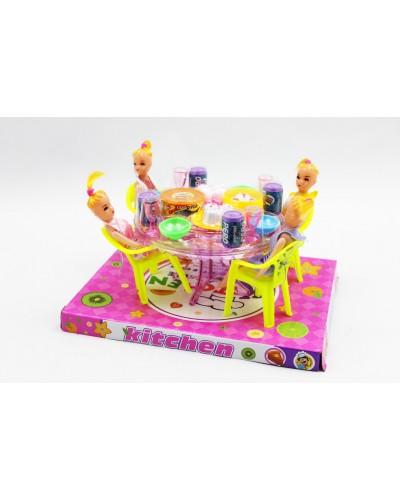 Мебель A8-55 2 вида,с куклами,с посудой,под слюдой 23*17см
