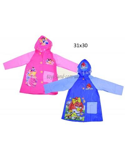 """Дождевик """"Angry Birds, Disney Рrincess"""" CEL-30 2 вида, 2 размера (M,L), с капюшоном"""
