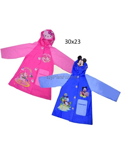 "Дождевик ""Mickey Mouse, Hello Kitty"" CEL-31 2 вида, 2 размера (M,L), с капюшоном"