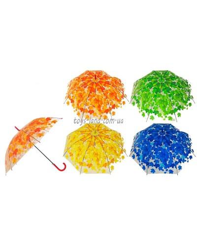 """Зонт """"Осень"""" E12808  4 цвета, прозрачная клеенка, в пак.73см"""