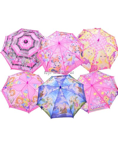 Зонт CL1720 6 видов, с рисунком, герои, в пакете 50см