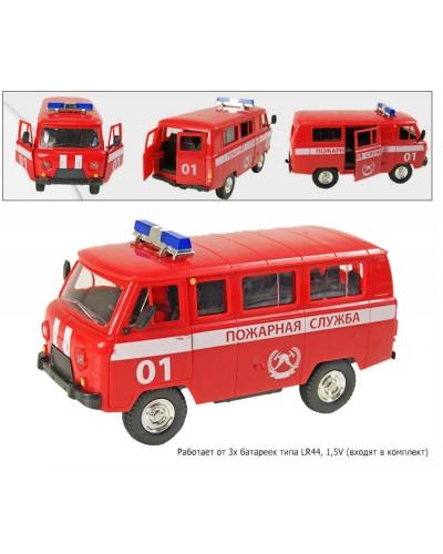 "Машина батар. 9518A (24шт/2)""PLAY SMART""  ""Пожарная служба"" откр.двери,свет,звук,в кор20*9*10см"