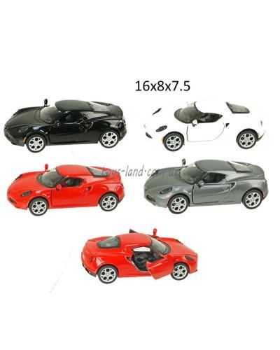 """Машина металл """"KINSMART"""" KT5366W  Alfa Romeo 4C, в кор.16*8,5*7,5cm"""