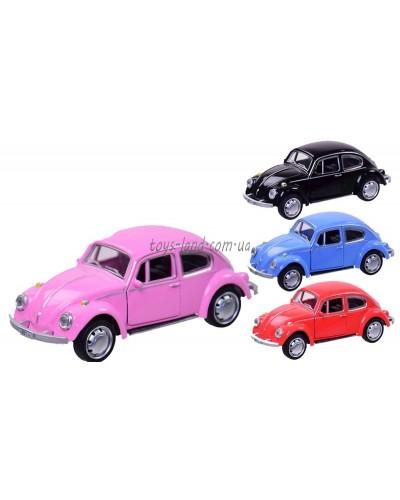 """Машина металл 7716 (6225C) """"АВТОПРОМ"""", Wolkswagen Beetle, М1:45, 4 цвета, в кор. 12*6,5*5,7см"""