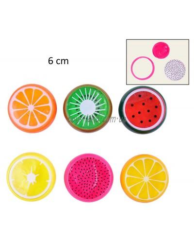Лизун F18231 (576шт) фрукты, 6 видов, 20 боксов, 36 штук в одном, в кор.6см