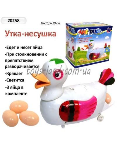 Муз.уточка-несушка 20258 батар.,свет,несет яйца,в кор. 16*8см