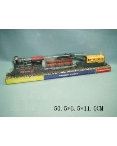 Паровоз батар 1803 (307062R) + 2 платформы с краном,бревнами,под слюдой 50,5*6,5*11см