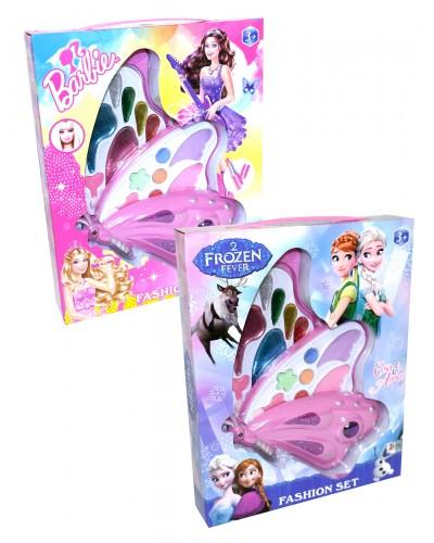 """Косметика """"Frozen""""Barbie""""Sofia"""" WZ001/2/3 3вид, 2-ух ярус, тени, румяна, блески, в кор.28*5*23см"""