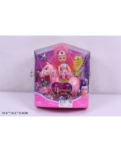 Кукла маленькая 66260  с лошадкой,расческой, волш палочкой, в кор.19*16*6см