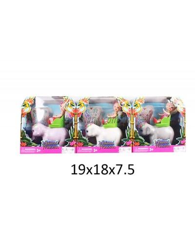 Кукла маленькая 66330  3вида, верхом на слоне, в кор. 19*18*7см