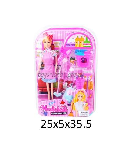 "Кукла типа ""Барби""Хозяйка"" 4400A (1590738  пылесос,веник,совок,ведро,щетки,в кор.25*5*35,5см"