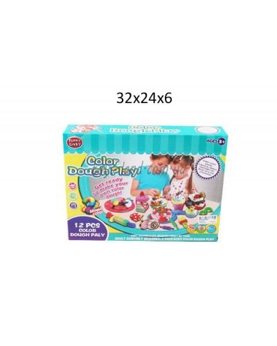 Набор для творч. пластилин Funny Lucky F012-53  12 цветов, в коробке 32*24*6 см