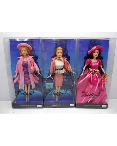 "Кукла типа ""Барби""66393  3 вида, с сумочкой,под слюдой"