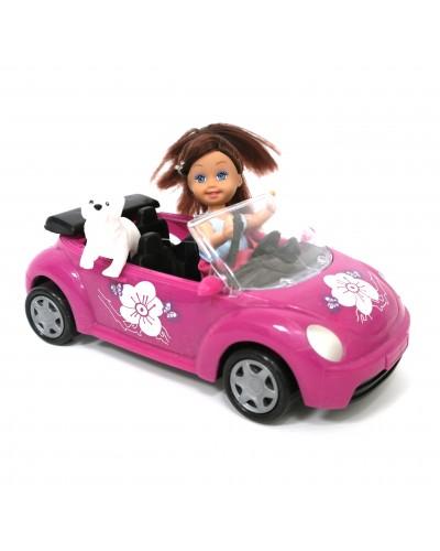 Кукла маленькая K899-14  в машине.с собачкой,в кор.25*12*16см