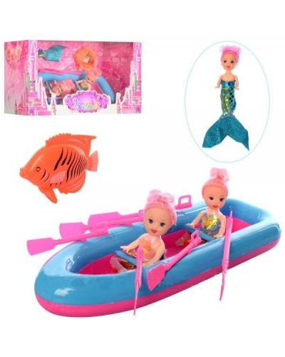 Кукла маленькая 66821 в лодке с веслами, 2 куклы, кукла-русалка, рыбка, в кор.31*13*11см